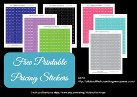 FREE Printable Garage sale pricing stickers