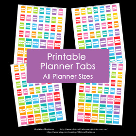Printable Planner Tabs - Rainbow Daily and Weekly Planner Add On - Erin Condren Size Compatible - Agenda Organization