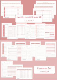 BLUE - Health and Fitness + Personal Set - Simple Planner Series - Instant Download