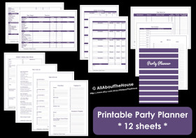 BLACK - Party Planner - Simple Planner Series - Instant Download