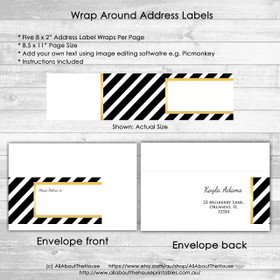 Address Label Wrap - Metallic Gold Black Stripe Printable jpg editable using free image editing software e.g. Picmonkey - instant download