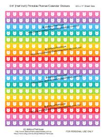 "Printable Calendar /  Planner Stickers - Alarm Clock- Half Inch (0.5"") Square - Rainbow"