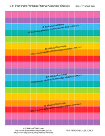 """Printable Calendar /  Planner Stickers - Blank - Choose Your Own - Colour Coding - Half Inch (0.5"""") Square - Rainbow"""