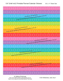 "FREE Printable Planner Stickers - Mail - Envelope - Shipping - Half Inch (0.5"") Square - Rainbow"
