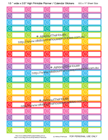 "Printable Calendar /  Planner Stickers - 1.5 x 0.5""  - Appointment - Meeting - Work - Rainbow"