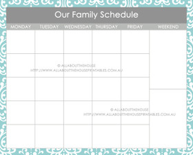 "16 x 20"" Printable Dry Erase Calendar - Message Centre - Grey & Blue - Instant Download"
