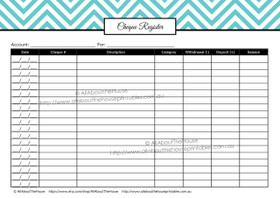 Chequebook Register - EDITABLE - All 7 Colours - Finance//Budgeting Planner Printables