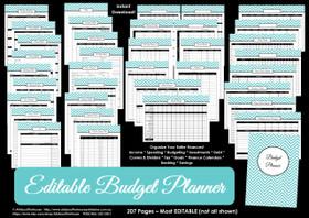 EDITABLE BLACK Budget Planner Printables - Instant Download