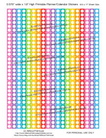 "Checklist Printable Calendar / Planner Stickers 1.9"" long x 0.375"" wide - Rainbow"