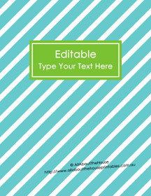 "EDITABLE Binder Cover - Letter Size (8.5 x 11"") - Style 4 - blue (6), green (40)"