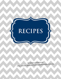 Grey Chevron & Navy Recipe Binder - EDITABLE - 54 Sheets - INSTANT DOWNLOAD