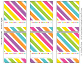 FREE Rainbow Bookplate Labels - 3 x 4""
