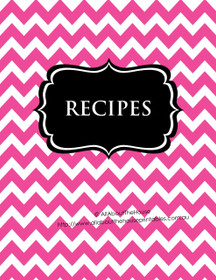 Pink Chevron & Black Recipe Binder - EDITABLE - 54 Sheets - INSTANT DOWNLOAD