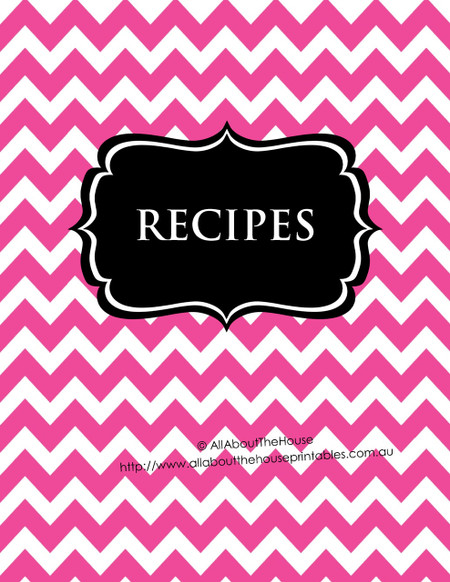 Music Book Cover Template : Pink chevron black recipe binder editable sheets