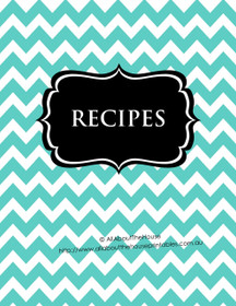 Aqua/Blue Chevron & Black Recipe Binder - EDITABLE - 54 Sheets - INSTANT DOWNLOAD
