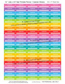 "Hydrate Water Intake Tracker Hydration Printable Calendar /  Planner Stickers - 1.5 x 0.5"" - Rainbow"