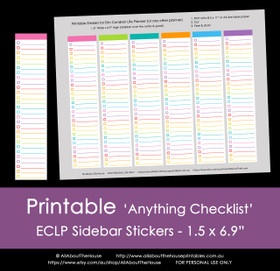 Anything Checklist Planner Stickers - Printable - ECLP Sidebar (or any other planner) - Rainbow