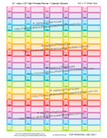 "Bill Due Printable Calendar /  Planner Stickers - 1.5 x 0.5""  - Payments - Money Management - Rainbow"