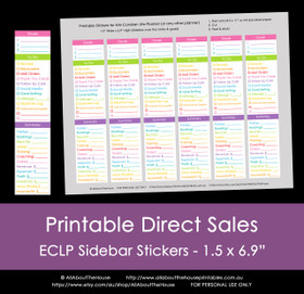 Direct Sales Checklist Planner Stickers - Printable - ECLP Sidebar (or any other planner) - Rainbow