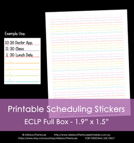 Printable Calendar /  Planner Stickers - Scheduling - Erin Condren size (can be used for other planners) - 12 Colours including Rainbow