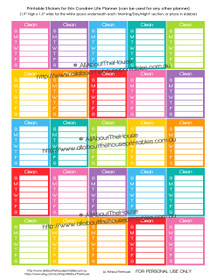 Cleaning Routine Printable Calendar /  Planner Stickers - Full Box - Erin Condren size (can be used for other planners)
