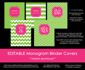 EDITABLE Monogram Binder Covers - 40 (green), 81 (pink)