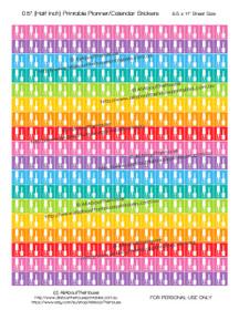 "Nail Polish - Manicure - Printable Calendar /  Planner Stickers - Half Inch (0.5"") Square - Rainbow"