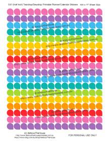 "Teardrop Dewdrop - Printable Calendar /  Planner Stickers - (1/2"" & 3/4"") - Rainbow"