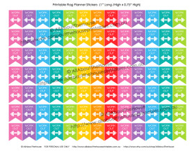 "Gym Workout Planners Stickers - Flags Printable - 1"" H x 0.75"" W - F020-021, 035"