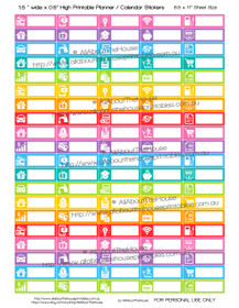 "Bills Planner Stickers - 1.5 x 0.5"" - Rainbow"