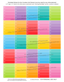 Hollow Heart Ombre Checklist Printable Planner Stickers - Full Box - Erin Condren size (can be used for other planners)