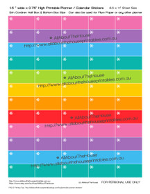 "Asterisk Reminder Appointment Printable Planner Stickers 1.5"" wide x 0.75"" high - Rainbow"