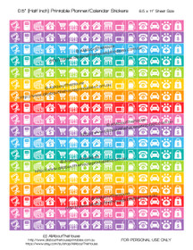 "Money Planner Stickers Printable - Half Inch (0.5"") Square - Rainbow - #HIS074"
