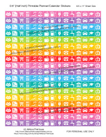 "Money Planner Stickers Printable - Half Inch (0.5"") Square - Rainbow - #HIS071"
