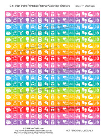 "Health Planner Stickers Printable - Half Inch (0.5"") Square - Rainbow - #HIS067"