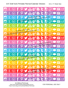 "Blogging Planner Stickers Printable - Half Inch (0.5"") Square - Rainbow - #HIS054"