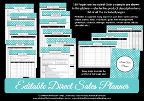 Direct Sales Planner - Printable - Blue Polka Dot - Editable - Instant Download