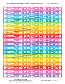 "Happy Mail Parcel Delivery Planner Stickers Printable - Half Inch (0.5"") Square - Rainbow - #HIS051"