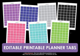 EDITABLE (In Excel) Printable Planner Tabs