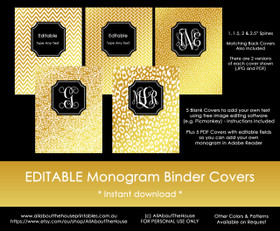 EDITABLE Monogram Binder Covers - Gold & Black (Set 2)