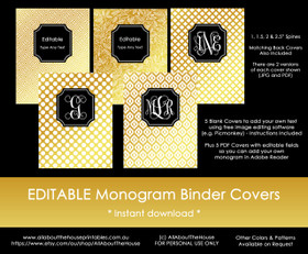 EDITABLE Monogram Binder Covers - Gold & Black (Set 3)