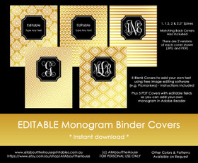 EDITABLE Monogram Binder Covers - Gold & Black (Set 4)