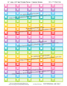 "Birthday Planner Stickers - 1.5 x 0.5"" - Rainbow - OL163"