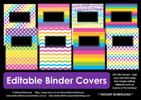 Rainbow binder covers - EDITABLE - INSTANT DOWNLOAD