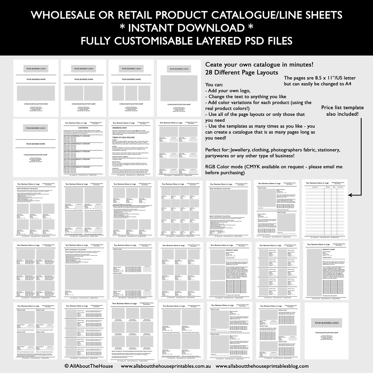 catalogue template for wholesale or retail  photoshop