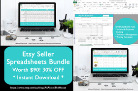 Etsy Shop Seller Spreadsheets Bundle (Use in Excel or Google Docs)