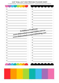 FREE Printable list Planner Insert - Rainbow