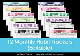 Habit Tracker - Chevron - Monthly - Editable