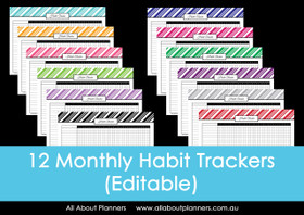 Habit Tracker - Stripes  - Monthly - Editable