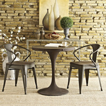"""Drive 28"""" Round Wood Top Iron Base Dining Table in Brown"""